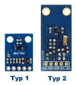 Dvojí provedení senzoru BH1750